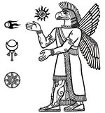 Silhouette of the Assyrian deity with a body of the person and the head of a bird. Character of Sumerian mythology.  Royalty Free Stock Photography