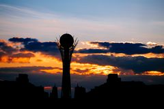 Silhouette of Astana cityscape capital of Kazakhstan on beautiful sunset Royalty Free Stock Photography
