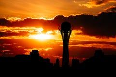 Silhouette of Astana cityscape capital of Kazakhstan on beautiful sunset Stock Image