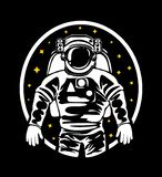 The silhouette of an astronaut in a spacesuit in outer space. vector illustration