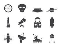 Silhouette Astronautics and Space Icons Stock Images