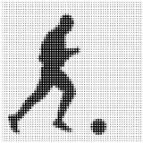 Silhouette of an athlete. With the ball on a white background, halfton royalty free illustration