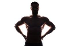 Silhouette of athlete bodybuilder man Royalty Free Stock Photo