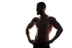 Silhouette of athlete bodybuilder man Stock Image