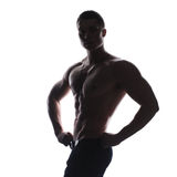 Silhouette of athlete bodybuilder man Stock Images