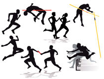 Silhouette of athletes competing Stock Photo