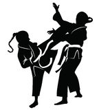 Silhouette of athletes involved in martial arts sparring.  Stock Photo