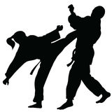 Silhouette of athletes involved in martial arts sparring.  Stock Image