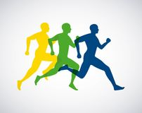 Silhouette athletes running isolated icon design. Illustration  graphic Royalty Free Stock Photo