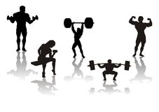 Silhouette of athletes, vector stock photo