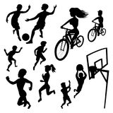 Silhouette athletes vector isolated images on a white background. Set of people involved in different kinds sports -. Football, running, cycling, basketball Royalty Free Stock Photography