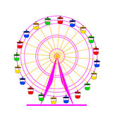 Silhouette atraktsion colorful ferris wheel. Stock Photos