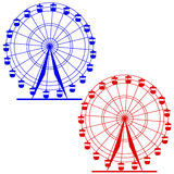 Silhouette atraktsion colorful ferris wheel Stock Images