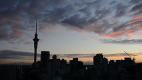Silhouette of Auckland skyline at sunrise stock video footage