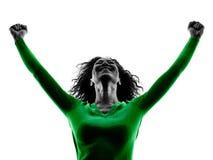 Silhouette augmentée par bras de bonheur de femme d'isolement Photographie stock libre de droits
