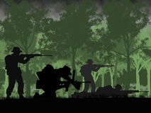 Silhouette of Australian soldier in Vietnam War circa 1966. At the Battle of Long Tan. Anzac Day memorial stock illustration