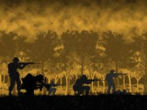 Silhouette of Australian soldier in Vietnam War circa 1966. At the Battle of Long Tan. Anzac Day memorial royalty free illustration