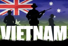 Silhouette of Australian soldier in Vietnam War circa 1966. At the Battle of Long Tan. Flag and mountains background. Anzac Day memorial stock illustration