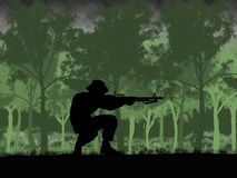 Silhouette of Australian soldier in Vietnam War circa 1966. At the Battle of Long Tan vector illustration