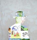 Silhouette av barns teckningar. Royaltyfria Bilder