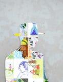 Silhouette av barns teckningar. Arkivfoton