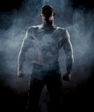 Silhouette av den muskulösa mannen Royaltyfri Foto