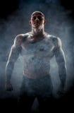 Silhouette av den muskulösa mannen royaltyfri fotografi