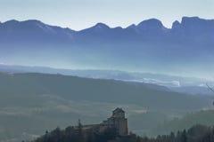 Silhouette av Dolomites Fotografering för Bildbyråer