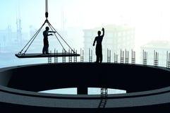 Silhouette av en arbetare stock illustrationer