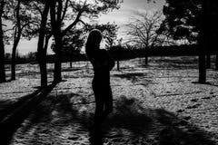 Silhouette av en flicka Royaltyfria Foton