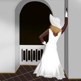 Kvinnan på balkongen Royaltyfri Bild