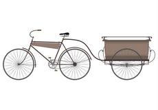 Retro cykel med ett släp. stock illustrationer