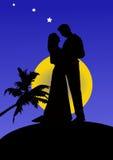Silhouette av ett par, illustration Arkivbild