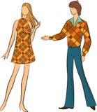 Silhouette av flickan med mannen Arkivfoto