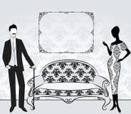 Silhouette av flickan med mannen. Royaltyfri Foto