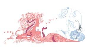 Silhouette av flickan och blommorna stock illustrationer