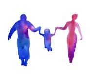 Silhouette av folk tappar familjen vattenfärg Arkivbild