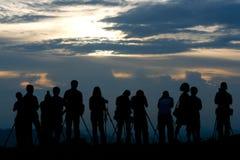 Silhouette av fotografen Arkivbild