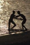 Silhouette av pojkar på strand royaltyfri fotografi