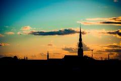Silhouette av Riga Royaltyfri Bild