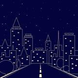 Silhouette av staden Väg i nattstaden Natthimmel över staden royaltyfri illustrationer