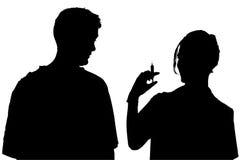 Silhouette avec le chemin de découpage de l'infirmière et du patient Image libre de droits