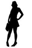 Silhouette avec le chemin de découpage de la femme sexy d'affaires Photo stock