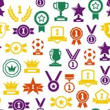 Silhouette Awards Seamless Pattern Background. Vector. Silhouette Awards Seamless Pattern Background Symbol of Success Sport and Business Competition on White Royalty Free Stock Images