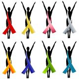 Silhouette Awareness Ribbons 1 royalty free illustration