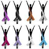 Silhouette Awareness Ribbons 2 Stock Photos