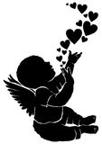 Silhouette baby angel with heart. Silhouette baby angel with flying heart Stock Image