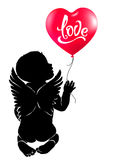 Silhouette baby angel with red heart balloon Love. Stock Photos