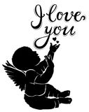 Silhouette baby angel with text I love you. Silhouette baby angel with text `I love you Royalty Free Stock Photography