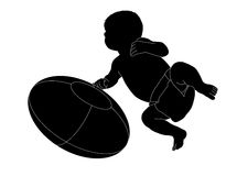 Silhouette of a baby boy with a rugby ball. Silhouette of a 2 months old baby boy with a rugby ball Stock Illustration